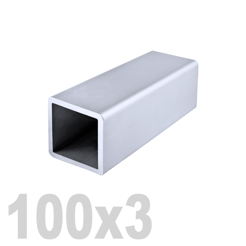Труба квадратная нержавеющая матовая DIN 2395 AISI 304 (100 x 100 x 6000 x 3 мм)