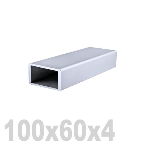 Труба прямоугольная нержавеющая матовая DIN 2395 AISI 304 (100 x 60 x 6000 x 4 мм)