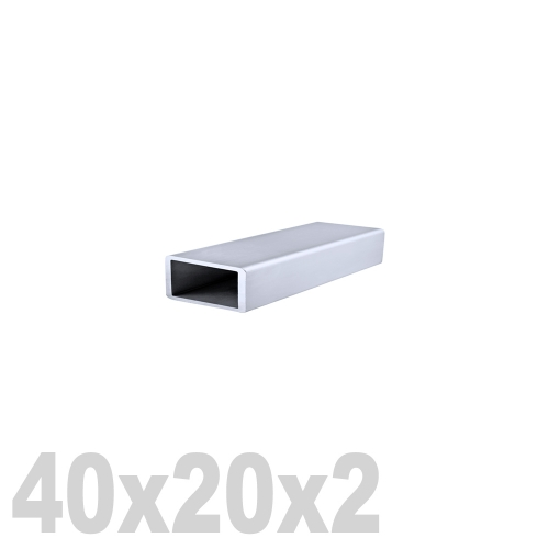 Труба прямоугольная нержавеющая матовая DIN 2395 AISI 304 (40 x 20 x 6000 x 2 мм)