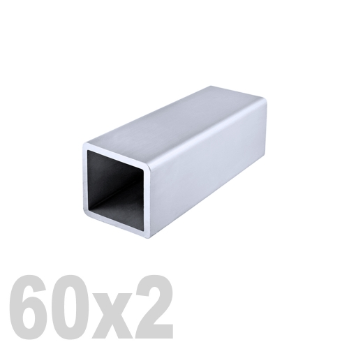 Труба квадратная нержавеющая матовая  AISI 316 (60 x 60 x 6000 x 2 мм)