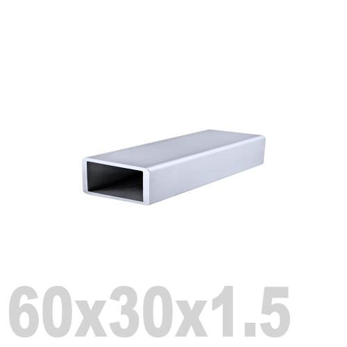 Труба прямоугольная нержавеющая зеркальная DIN 2395 AISI 304 (60 x 30 x 6000 x 1.5 мм)