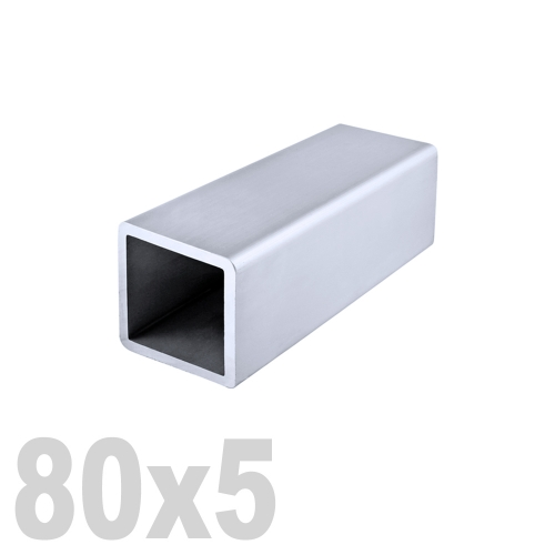 Труба квадратная нержавеющая матовая DIN 2395 AISI 304 (80 x 80 x 6000 x 5 мм)