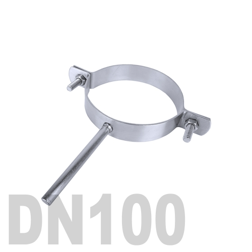 Хомут трубный нержавеющий на ножке AISI 304 DN100 (114,3 x 2,0 мм)