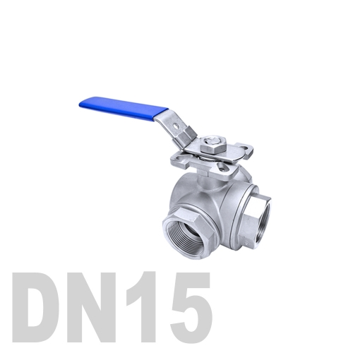 Кран шаровый муфтовый нержавеющий трёхходовой L образный AISI 316 DN15 (21.3 мм)