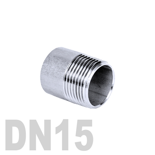 Ниппель нержавеющий приварной полусгон AISI 304 DN15 (21.3 мм)