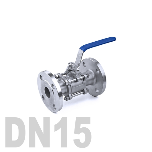 Кран шаровый фланцевый нержавеющий AISI 304 DN15 (21.3 мм)