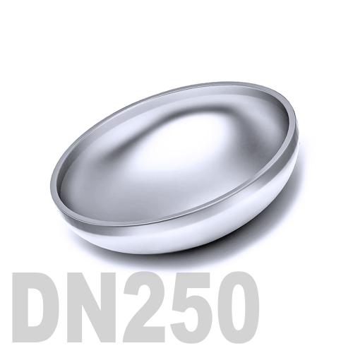Заглушка нержавеющая эллиптическая  приварная AISI 316 DN250 (254,0 x 2,0 мм)