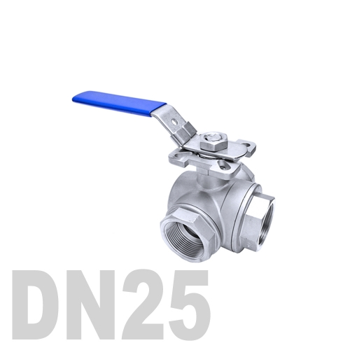 Кран шаровый муфтовый нержавеющий трёхходовой L образный AISI 316 DN25 (33.7 мм)