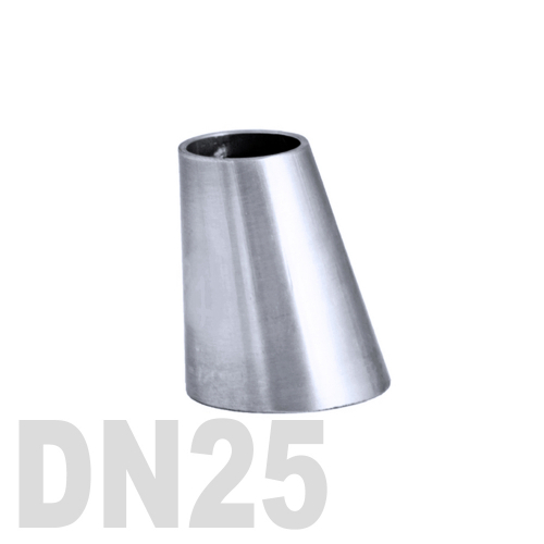 Переход эксцентрический нержавеющий приварной AISI 316 DN25x20 (29,0 x 23,0 x 1,5 мм)
