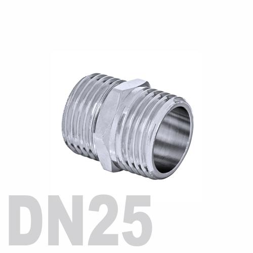 Ниппель двойной нержавеющий [нр / нр] AISI 316 DN25 (33.7 мм)