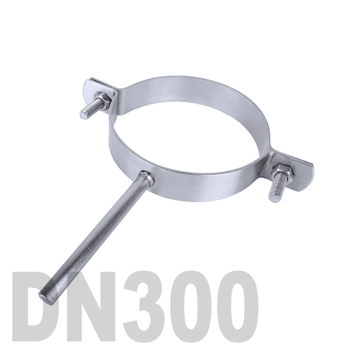 Хомут трубный нержавеющий на ножке AISI 304 DN300 (323,9 x 3,0 мм)