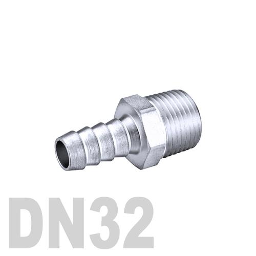 Штуцер шланговый нержавеющий «ёлочка» [нр] AISI 304 DN32 (42.4 x 32.0 мм)