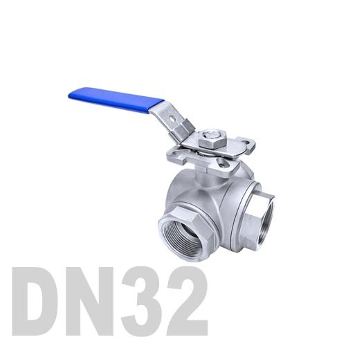 Кран шаровый муфтовый нержавеющий трёхходовой L образный AISI 316 DN32 (42.4 мм)
