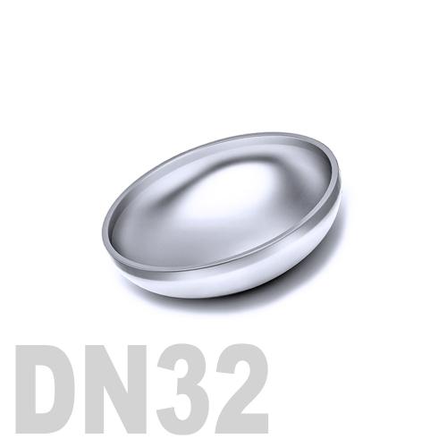 Заглушка нержавеющая эллиптическая  приварная AISI 316 DN32 (34,0 x 2,0 мм)