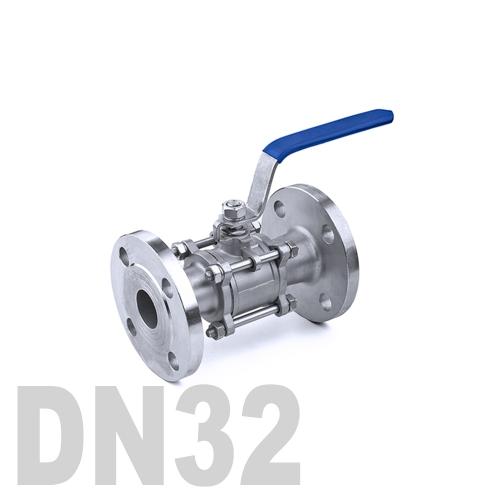 Кран шаровый фланцевый нержавеющий AISI 304 DN32 (42.4 мм)