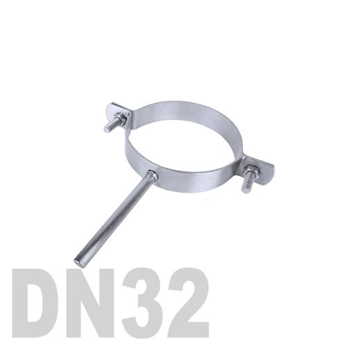 Хомут трубный нержавеющий на ножке AISI 304 DN32 (34,0 x 2,0 мм)