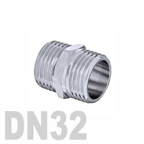 Ниппель двойной нержавеющий [нр / нр] AISI 304 DN32 (42.4 мм)