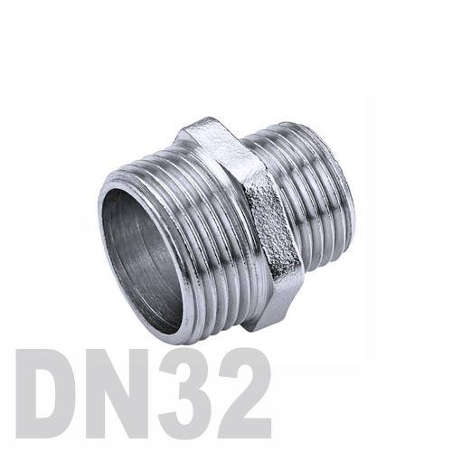Ниппель двойной переходной нержавеющий [нр / нр] AISI 304 DN32x25 (42.4 x 33.7 мм)