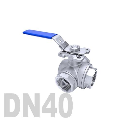 Кран шаровый муфтовый нержавеющий трёхходовой L образный AISI 316 DN40 (48.3 мм)