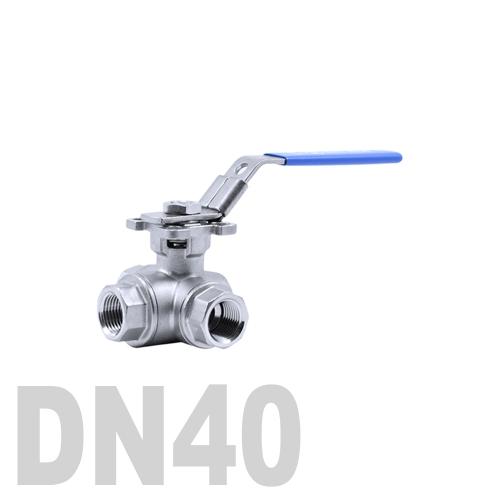 Кран шаровый муфтовый нержавеющий трёхходовой T образный AISI 316 DN40 (48.3 мм)