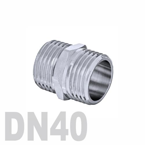 Ниппель двойной нержавеющий [нр / нр] AISI 316 DN40 (48.3 мм)