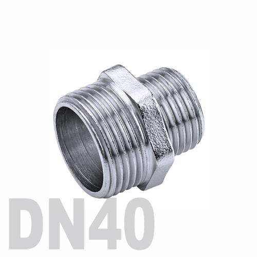 Ниппель двойной переходной нержавеющий [нр / нр] AISI 304 DN40x25 (48.3 x 33.7 мм)