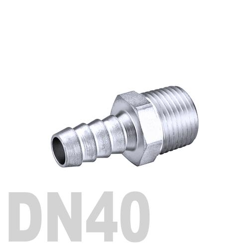 Штуцер шланговый нержавеющий «ёлочка» [нр] AISI 304 DN40 (48.3 x 40.0 мм)