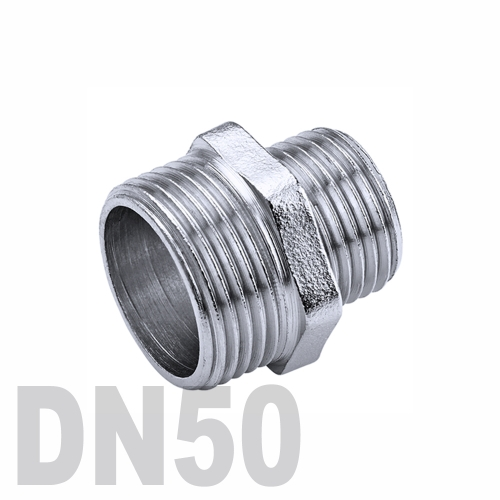 Ниппель двойной переходной нержавеющий [нр / нр] AISI 316 DN50x40 (60.3 x 48.3 мм)