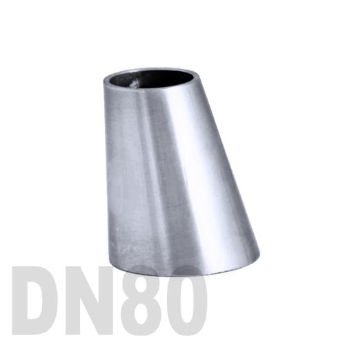 Переход эксцентрический нержавеющий приварной AISI 304 DN80x65 (84,0 x 70,0 x 2,0 мм)