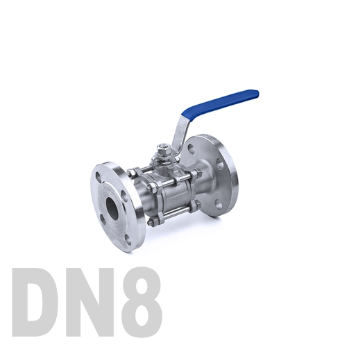 Кран шаровый фланцевый нержавеющий AISI 304 DN8 (13.7 мм)